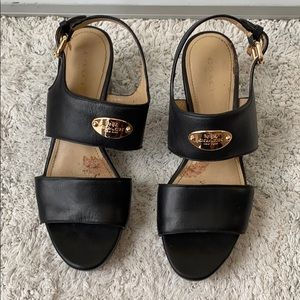 Coach Black Leather Wedges Ankle Strap Sandals